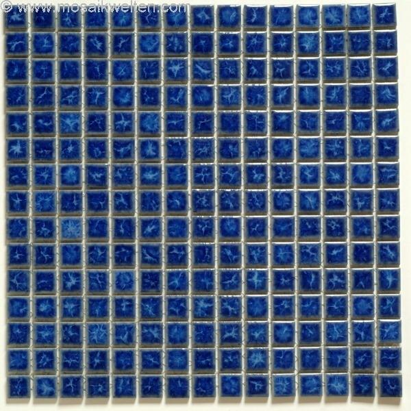 1 Blatt Keramikmosaik Blau Crystal Glänzend