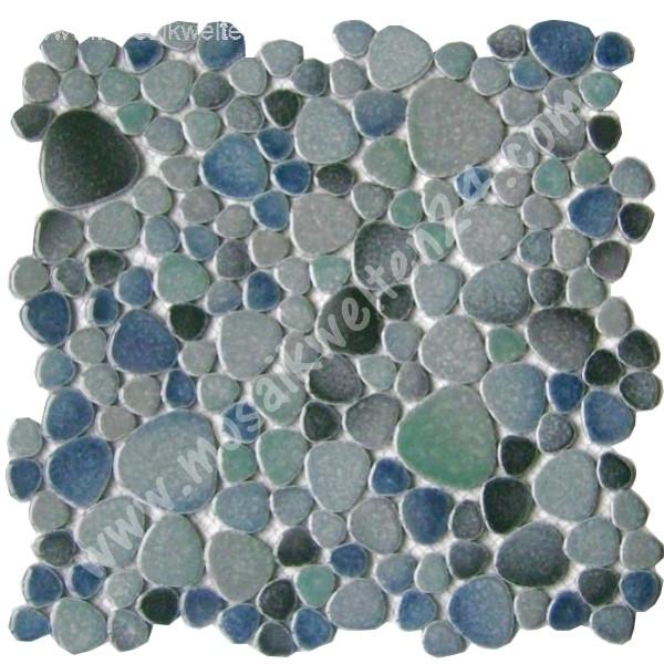 Mosaikfliesen blau glasmosaik keramik naturstein mosaik - Flusskiesel fliesen ...