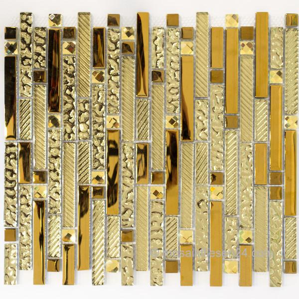 1 Blatt Crystal Edelstahl Mosaik Mix Gold