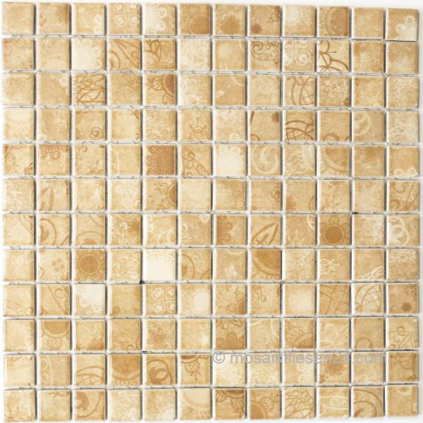 1 Karton 0 93 Qm Keramikmosaik Ornament Beige