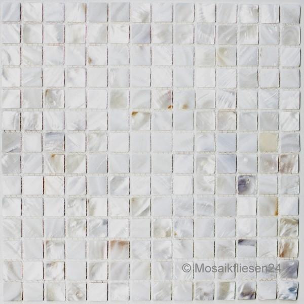 Perlmuttmosaik Muschelmosaik 20 Weiss Mix