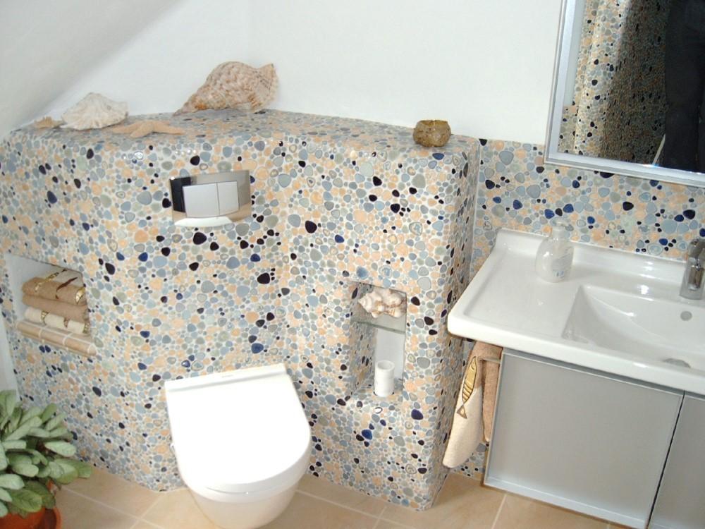 1 blatt kieselmosaik beige blau gl nzend. Black Bedroom Furniture Sets. Home Design Ideas