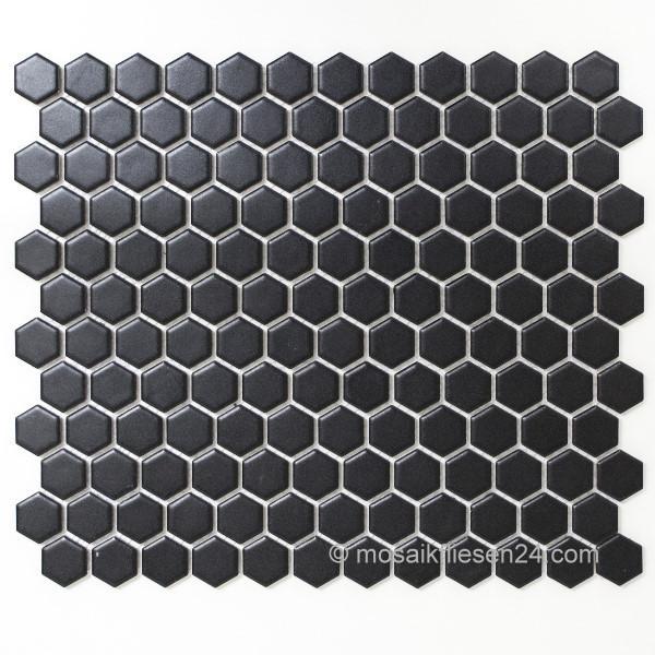 Keramikmosaik Hexagon Sechseck Mosaik Schwarz Matt - Mosaik fliesen schwarz matt