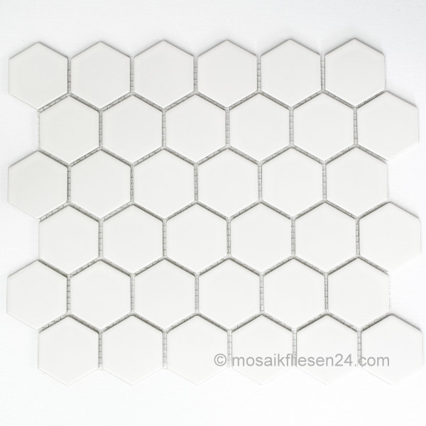 1 Karton 12M Keramikmosaik Hexagon 51 weiss matt