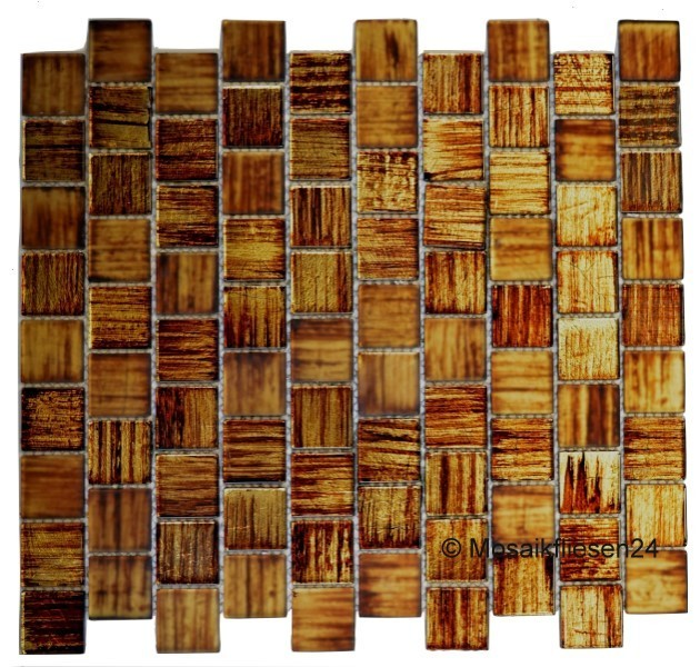 1 Karton/ 0,91qm Crystal Mosaik Matt/glänzend Braun Effekt