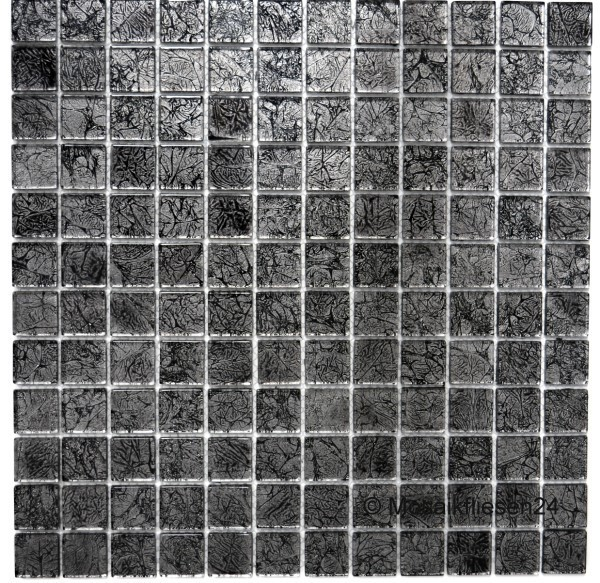 1 karton crystalmosaik 23 silber schwarz - Mosaik Fliesen