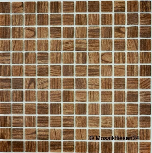 GroBartig 1 Blatt Glasmosaik Wood Holzstruktur Matt Braun