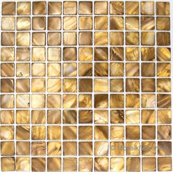 Perlmuttmosaik Muschelmosaik Braun Mix - Mosaik fliesen braun gold