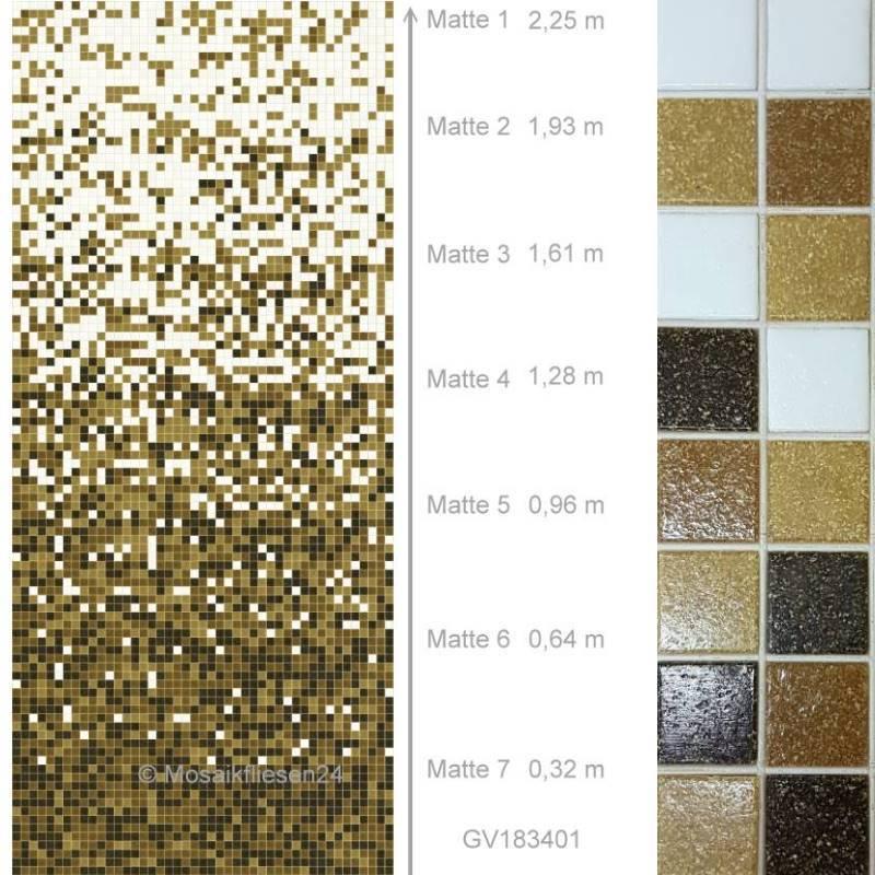 Glasmosaik EditionM Farbverlauf Weiss Braun Mosaikfliesen - Mosaik fliesen frostfest