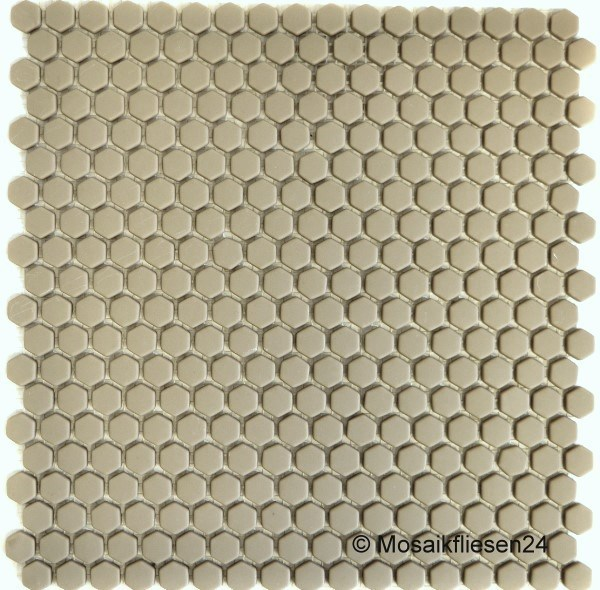 1 Karton / 10 Matten Glasmosaik Hexagon Mini 10M grau beige matt